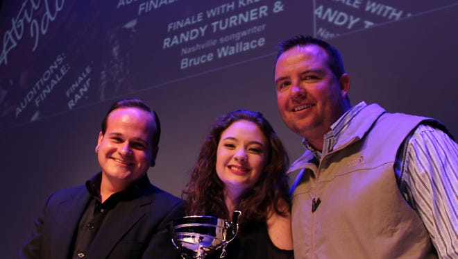 """Winning the title of 2017 Abilene Idol was teenager Zoe Beasley, center. Second place went to Jeremy """"Jay"""" Stephens, left, with Jason Kerby taking third place at the contest held Saturday night at the Abilene Convention Center."""