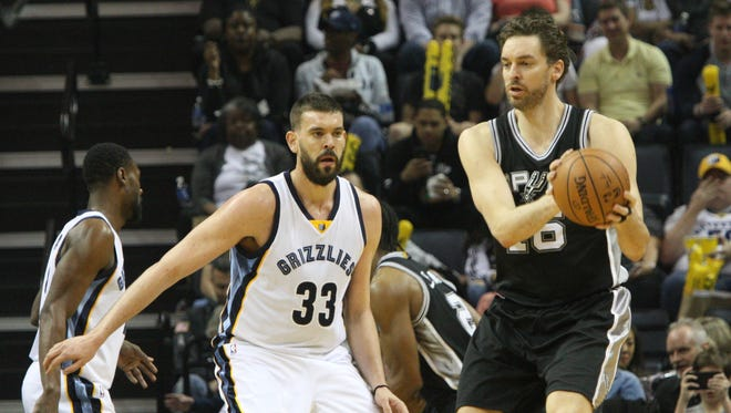 San Antonio Spurs' Pau Gasol (16) plays against his brother, Memphis Grizzlies' Marc Gasol (33) on Saturday, March 18, 2017, in Memphis, Tenn.