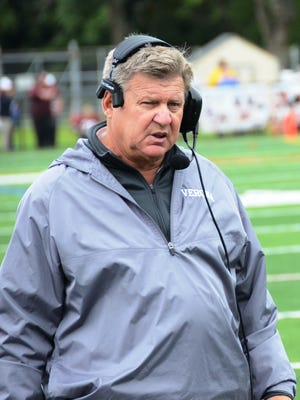 Head coach Lou Racioppe, shown during an October game, was suspended by the Verona Board of Education after complaints by student players and their parents about his behavior.