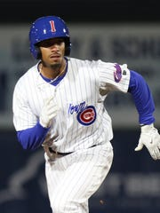 Pitcher Duane Underwood Jr. runs the bases as the Iowa Cubs took on the Oklahoma City Dodgers on April 4, 2018 at Principal Park in Des Moines.
