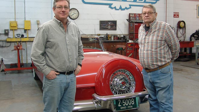 From left: Jim and Bill Brown stand by a restored Thunderbird at CASCO.