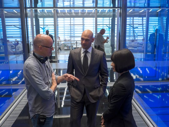 Director Peyton Reed directs actors Corey Stoll and