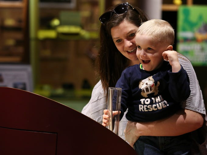 Bowen Heckman, 3, was amazed by the sound emanating
