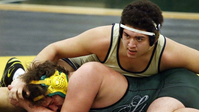 Salesianum's Riley Montgomery (top), shown in a dual-meet win against St. Mark's last year, is the No. 7 seed at heavyweight in the Beast of the East Tournament.