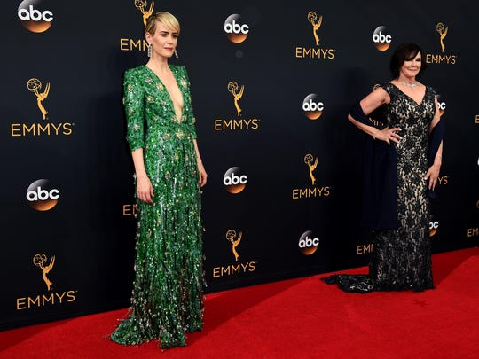 "Sarah Paulson, left, and Marcia Clark arrive at the 68th Primetime Emmy Awards on Sunday. She won for her portrayal of Clark in ""The People V. O.J. Simpson: American Crime Story."""