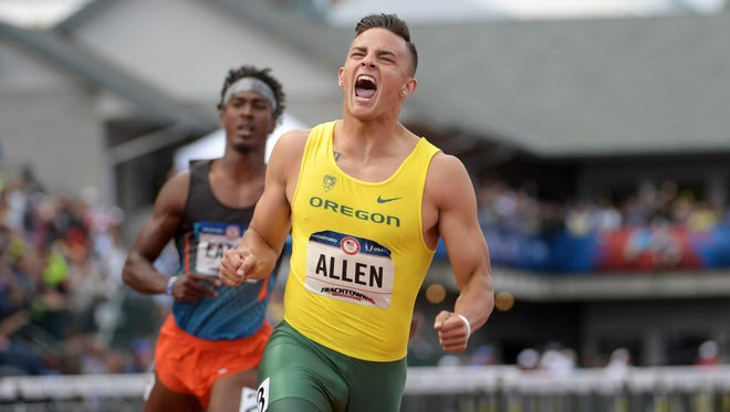 Jul 9, 2016; Eugene, OR, USA; Devon Allen of Oregon (C) celebrates after defeating Jarret Eaton (L) to win the 110m hurdles in 13.03 during the 2016 U.S. Olympic Team Trials at Hayward Field. Mandatory Credit: Kirby Lee-USA TODAY Sports