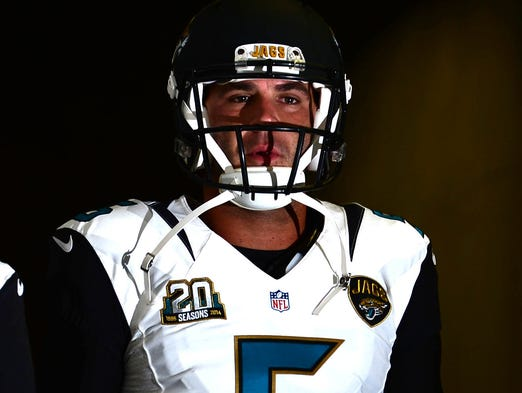 Jacksonville Jaguars quarterback Blake Bortles prior to the game against the Detroit Lions at Ford Field.