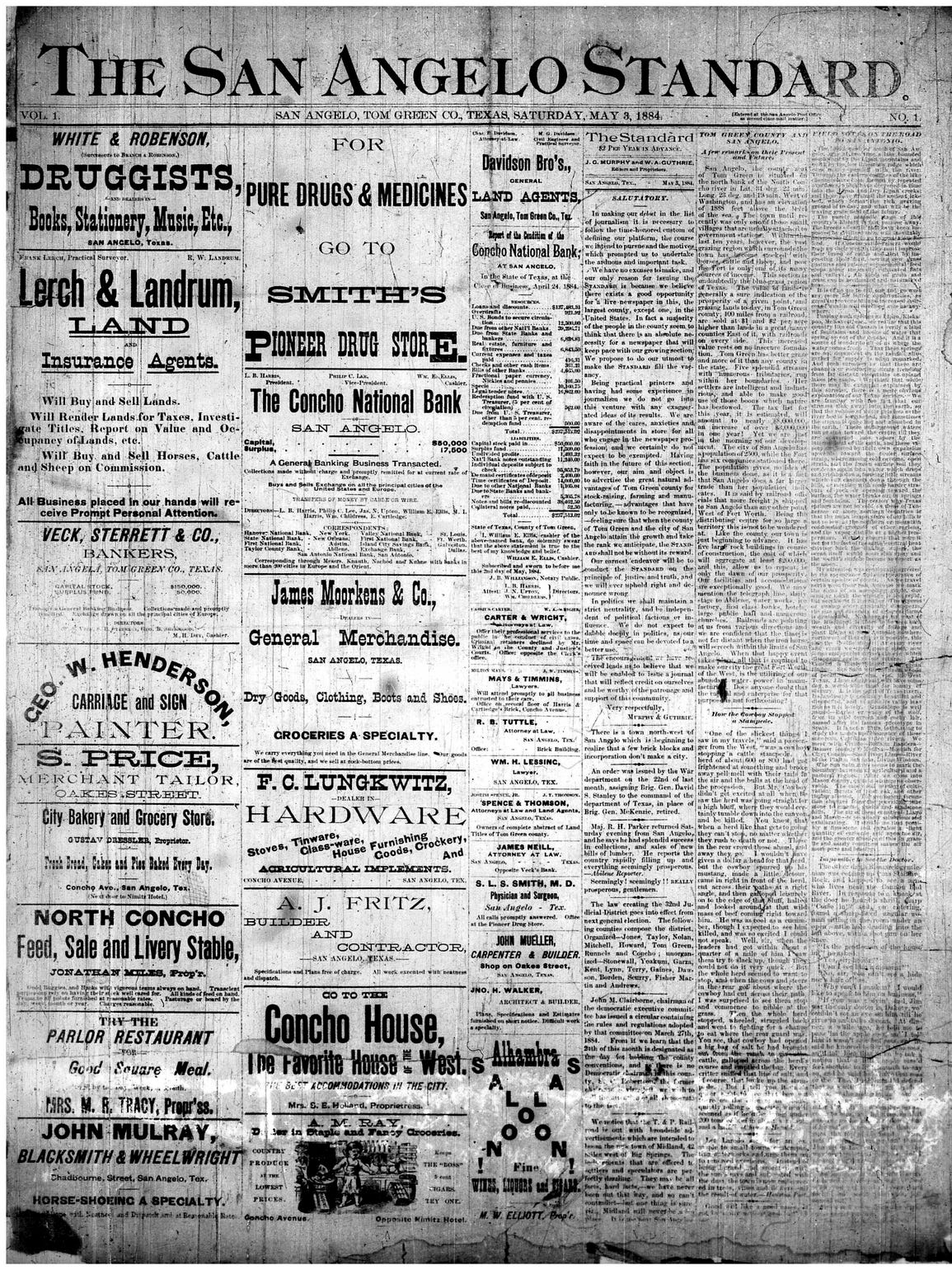 Front page May 3, 1884.