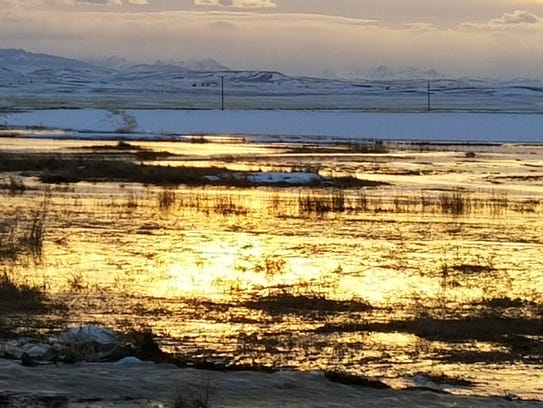 Sun reflects off flood water on Highway 219 in Pondera