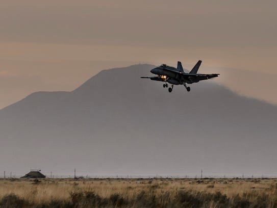 A Royal Canadian Air Force F-18 Hornet prepares to