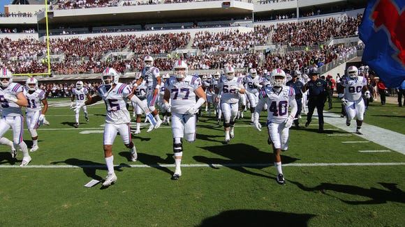 Louisiana Tech takes the field in last week's game at Mississippi State in Davis Wade Stadium.