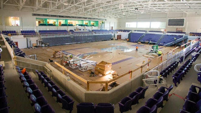 Construction continues recently on the Suncoast Credit Union Arena at Florida SouthWestern State College in Fort Myers. The arena is scheduled to open Nov. 29.