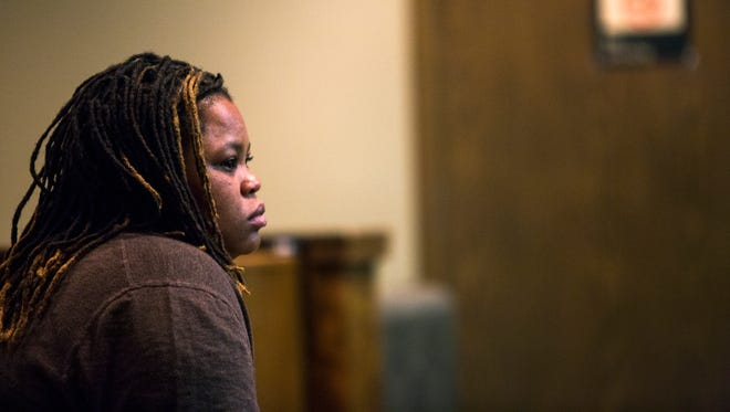 January 31, 2017 - Jaselyn Grant, a former Memphis police officer, sits in Judge Chris Craft's courtroom during her trial at the Shelby County Criminal Justice Center on Tuesday. Grant is charged with killing her wife, Keara Crowder, in Hickory Hill on November 19, 2014.
