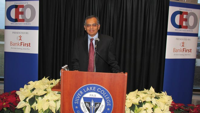 Manitowoc Public Utilities CEO and general manager Nilaksh Kothari was the second speaker for the Silver Lake College President's CEO Breakfast Series Dec. 6.