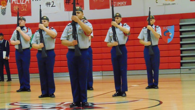 The North Salem placed first in the armed drill team competition on Saturday, March 12, at the 2016 JROTC Cascade Mountains League Oregon-Washington Two-State Championships.