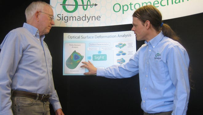 Two Sigmadyne employees discuss their software applications.