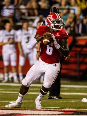 UL's Jalen Nixon, shown here against Akron in 2015, took some quarterback reps in Tuesday's spring practice.