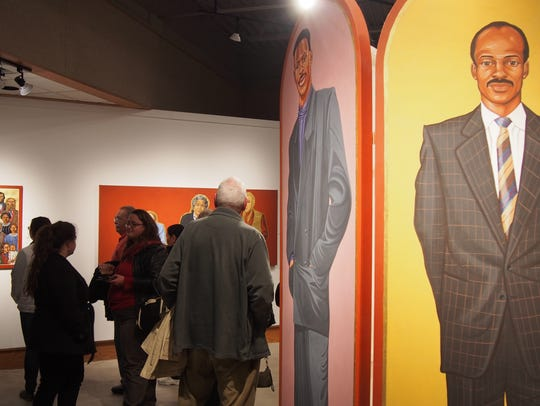 Guests view work by David Giffey, originally of Eldorado,