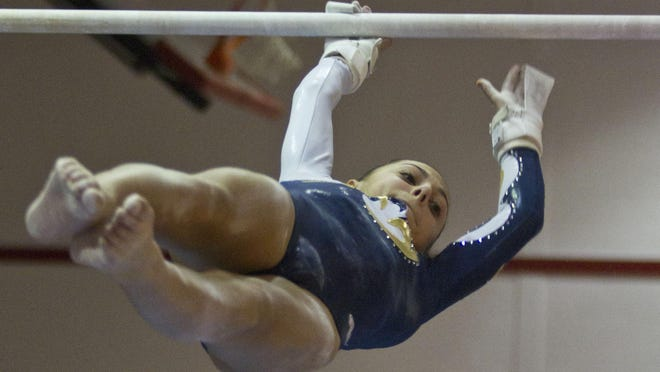 Marlboro's Melissa Astarita competes in the uneven bars at the NJSIAA Central I Sectional last November.