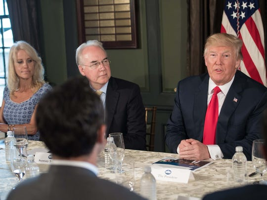 President Trump speaks at a meeting with administration officials, including Counselor Kellyanne Conway and Health and Human Services Secretary Tom Price, on the opioid addiction crisis at the Trump National Golf Club in Bedminster, New Jersey Tuesday.