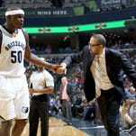 Memphis Grizzlies Zach Randolph shakes hands with head coach David Fizdale as he comes out the the game against the Minnesota Timberwolves.