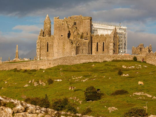 The Rock of Cashel stands on a natural hill between