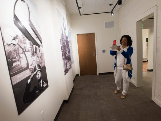 """Dana James, the daughter-in-law of Gen. Daniel """"Chappie"""" James Jr., looks Thursday at the new museum dedicated to the legendary Air Force combat pilot who became the country's first African-American four-star general."""