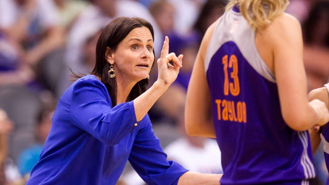 May 17, 2014 - Mercury coach Sandy Brondello coaches forward Penny Taylor in the WNBA opener against the Seattle Storm at the US Airways Center.