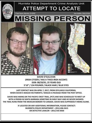 This undated Missing Person poster, distributed by the Murrieta, Calif., Police Department, shows photos and information about missing Irish hiker David O'Sullivan as they seek the public's help in locating him.