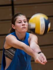 Elco's Carli Sholl bumps the ball during a recent practice.