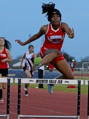 Hirschi's Iijah Glover competes in the 300 meter hurdles Friday, March 9, 2018, at the WFISD Track Meet at Garnett Stadium. Glover placed third with a time of 53.88 seconds.