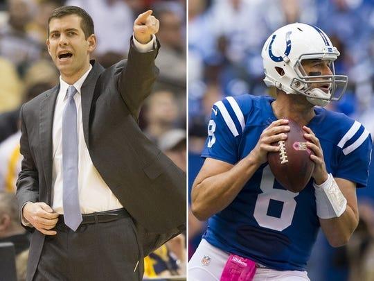 Boston Celtics coach Brad Stevens, left, grew up in Zionsville. Indianapolis Colts quarterback Matt Hasselbeck grew up in suburban Boston.