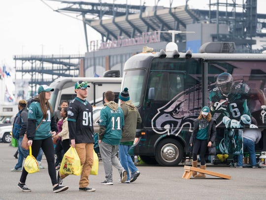 Eagles fans begin their tailgating early Sunday morning