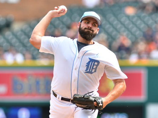 Tigers pitcher Michael Fulmer works in the first inning