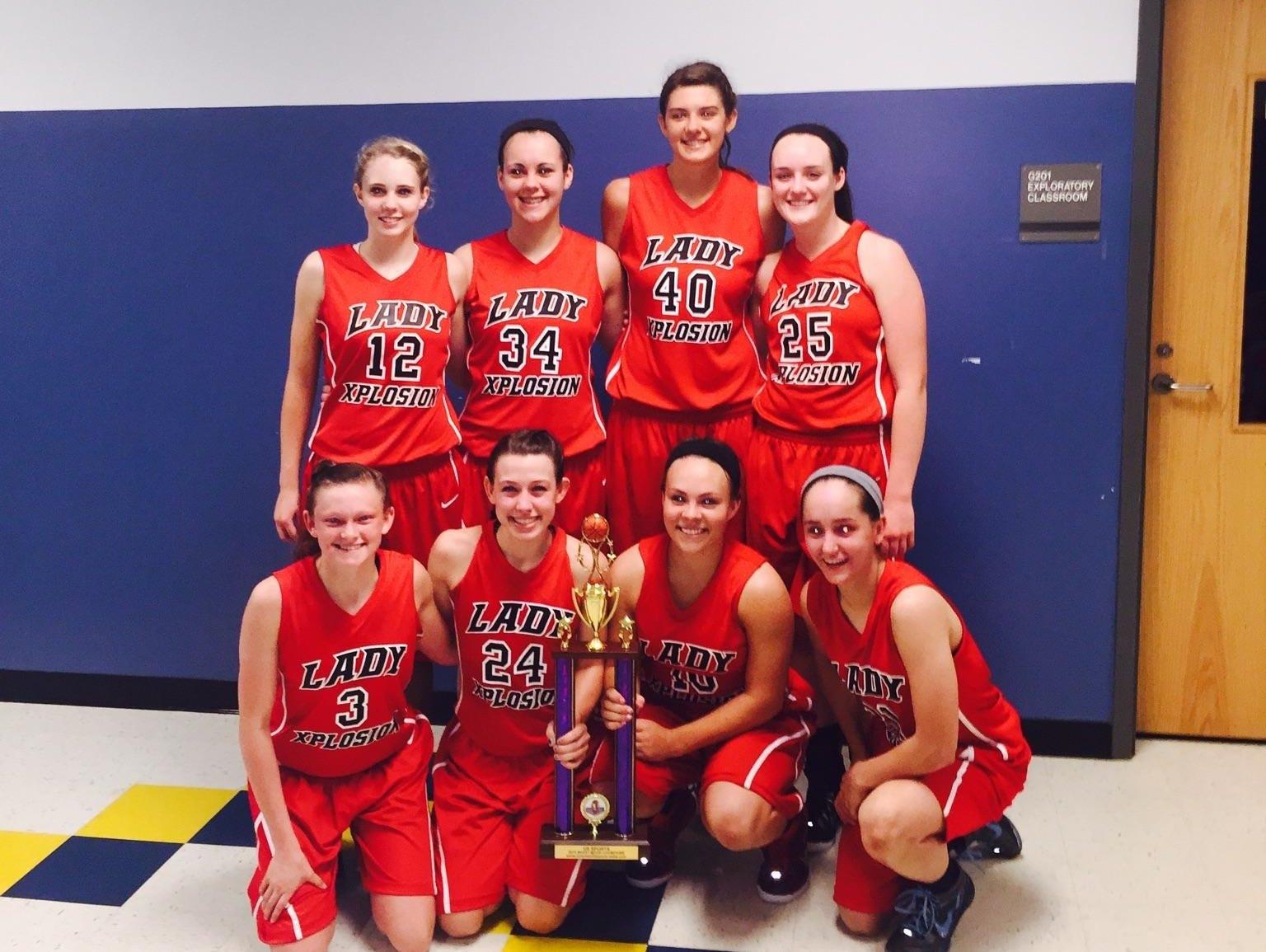 The Lady Xplosion 11th grade basketball team.