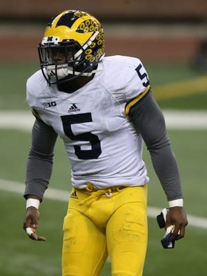 Michigan Wolverines' Jabrill Peppers goes through drills during spring practice Saturday, March 26, 2016 at Ford Field in Detroit.