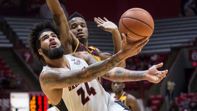 Ball State's Trey Moses goes up for a shot against Central Michigan on Jan. 16 inside Worthen Arena.