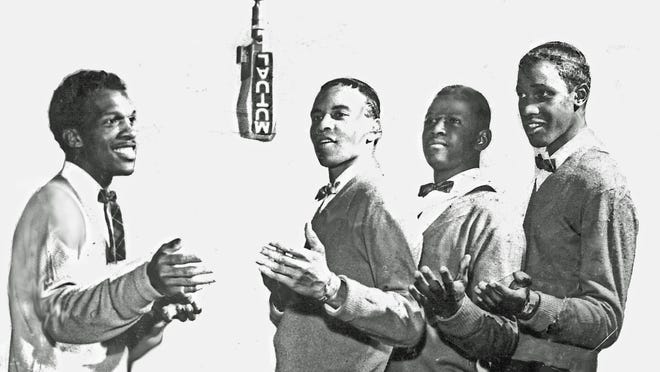 "The Asbury Park vocal group the Vibes in 1956 – left to right: Bobby Thomas, Lenny Welch, Joe Major and William Penha. The picture is part of the ""Asbury Park's Springwood Avenue Harmony: Celebrating The West Side's Unique Musical Legacy,"" now through Monday, Jan. 19 at the Heaven Art Gallery on Cookman Avenue in Asbury Park."