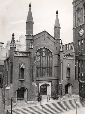 The old Christ Church building on Fourth Street was built in 1835 and torn down in 1955.