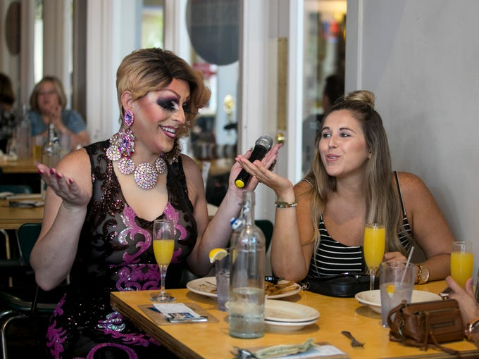 Alyssa Lemay, left, the host of Drag Queen Karaoke