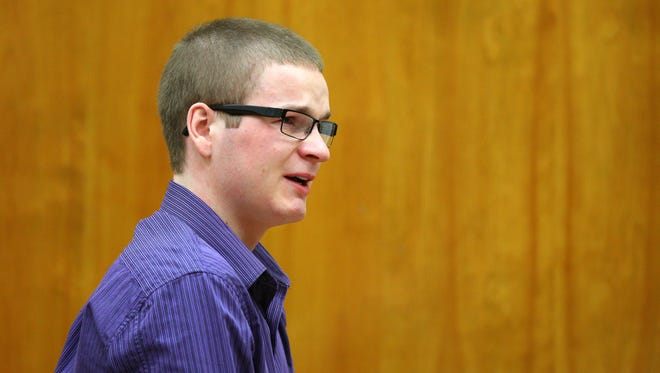 Brett Pearson addresses the court after pleading guilty in the murder of his mother and attempted murder of his father in 2015.