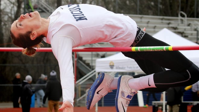 Nicolet's Michael McLaughlin competes in the high jump during the Mike Gain Spartan Invitational at Brookfield East High School