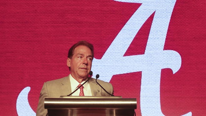 Coach Nick Saban speaks in the main media room Wednesday July 17, 2019 during SEC Media Days at the Hyatt Regency Wynfrey Hotel in Hoover.