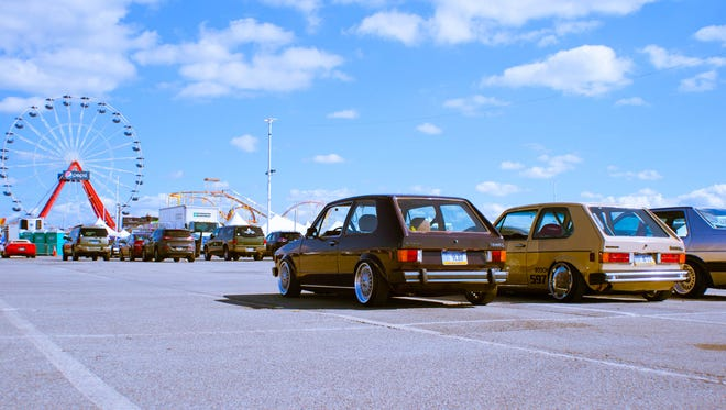 Several Volkswagons sit in the Ocean City Inlet parking lot during H2Oi.