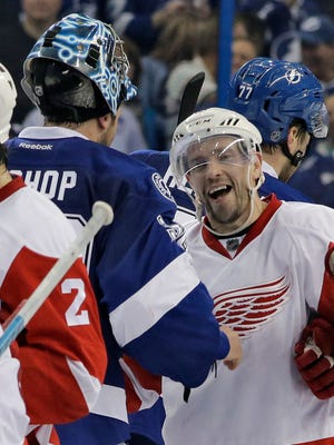 Red Wings center Pavel Datsyuk goes through the handshake line after the Lightning defeated the Red Wings, 1-0, during Game 5 in a first-round playoff series Thursday in Tampa.