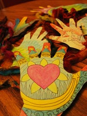 After Freyja died, Judy and friends and family created decorated handprints in her memory.