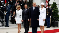 President Trump, first lady Melania Trump, French President