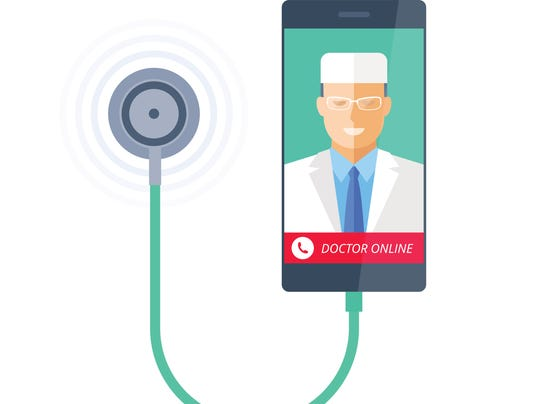Smart phone with stethoscope and doctor online on the screen.