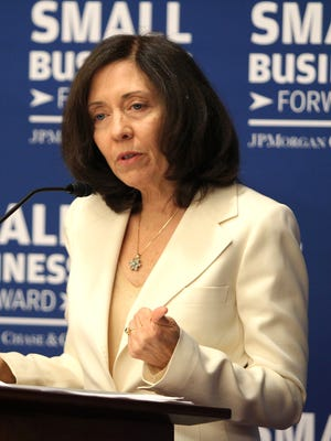Sen. Maria Cantwell, D-Wash., speaks at a roundtable discussion hosted by J.P. Morgan Chase & Co. where members of Congress and JPMorgan Chase representatives discuss boosting small business growth and job creation on Tuesday, July 22, 2014 in Washington, DC.