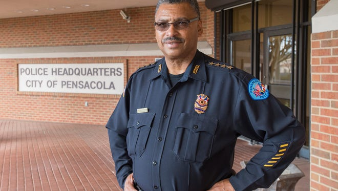 Pensacola Police Department Chief David Alexander III stands at his department's headquarters in Pensacola on March 29, 2017.